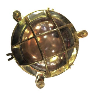 Brass & Copper Nautical Porthole Light For Sale