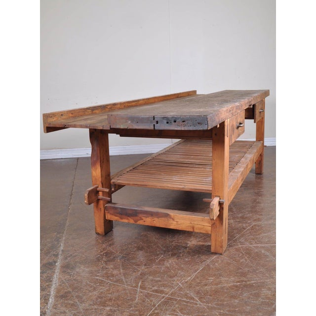 1950s 1950s French Reclaimed Wood Workers Bench Table For Sale - Image 5 of 5