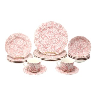 Vintage Chintz Dusty Rose Dinnerware by Open Home - Set of 16 For Sale