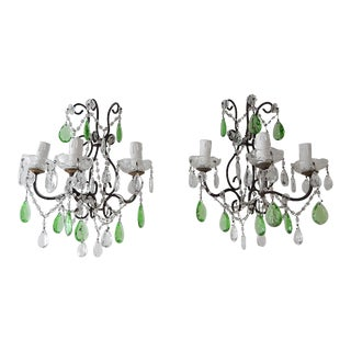 1920s Italian Rococo Green Crystal Prisms 3 Light Sconces - a Pair For Sale