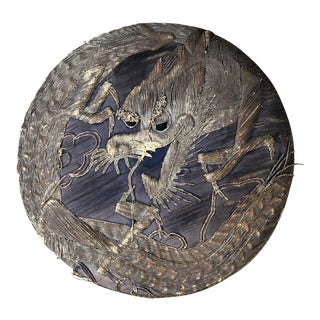 Antique Japanese Metallic Gold Thread Dragon Lacquer Box For Sale