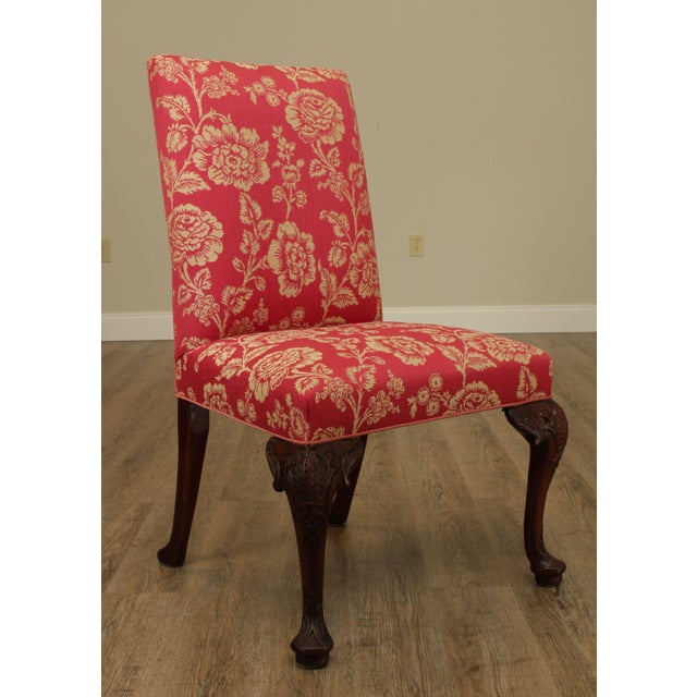 Georgian Style Custom Quality Carved Mahogany & Upholstered Set 10 Dining Chairs For Sale - Image 10 of 13