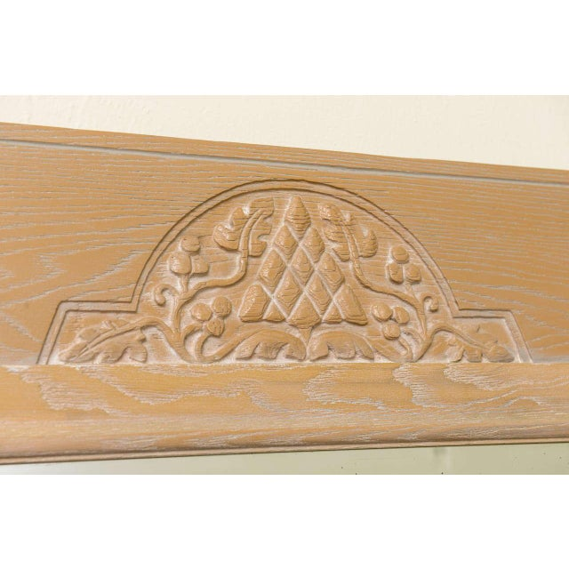 Jamestown Lounge Co. - 1940s Carved Cerused Oak Mirror - Image 3 of 5