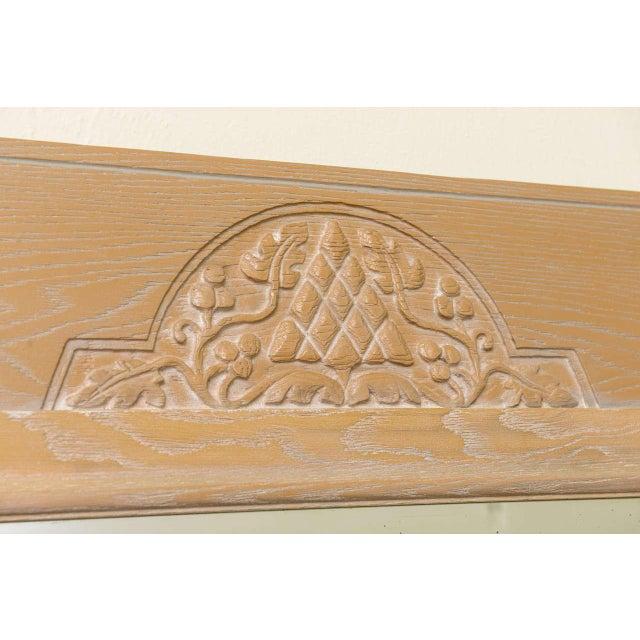 Art Nouveau Jamestown Lounge Co. - 1940s Carved Cerused Oak Mirror For Sale - Image 3 of 5