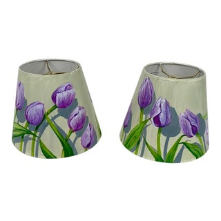Hand Painted Custom Made Lamp Shades - a Pair For Sale