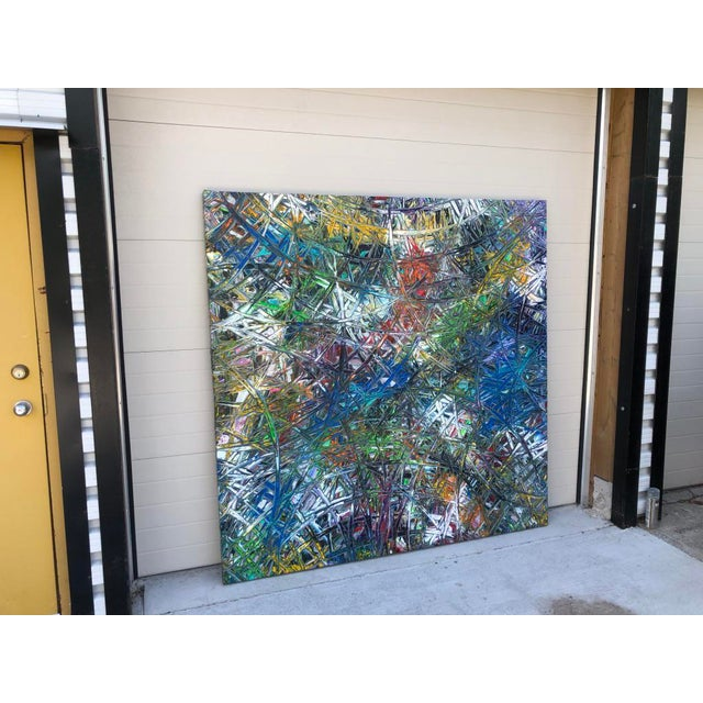"""2010s Acrylic Painting by Artist Troy Smith - 79"""" X 79"""" - Contemporary Art - Abstraction For Sale - Image 5 of 13"""