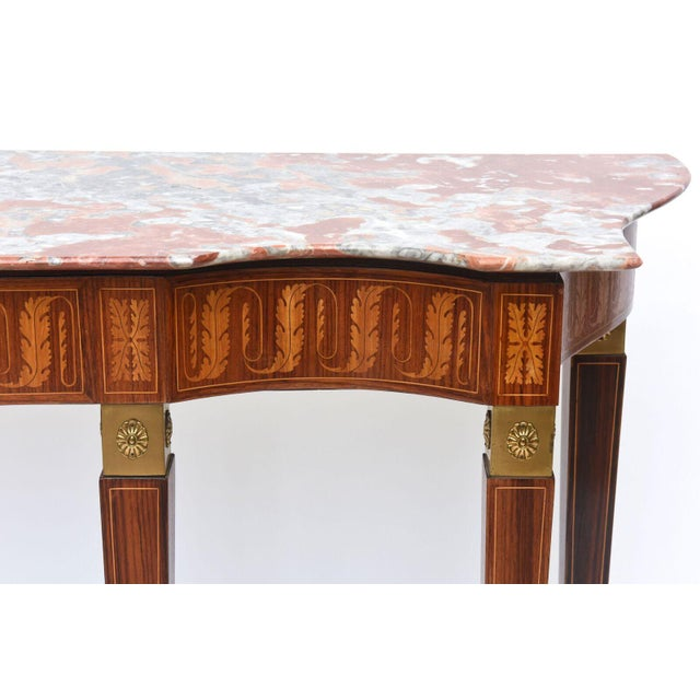 Italian Modern Inlaid Walnut, Bronze-Mounted and Marble Console by Paolo Buffa For Sale In Miami - Image 6 of 10