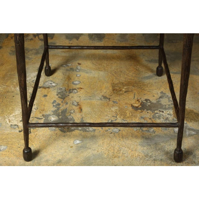 Customizable Paul Marra Iron and Douglas Fir Inset Side Table - Image 5 of 8