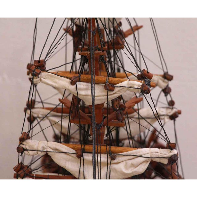 Traditional Hand Carved Ship Model For Sale - Image 4 of 10