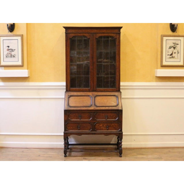 1910s Jacobean Oak Bureau Bookcase For Sale - Image 13 of 13