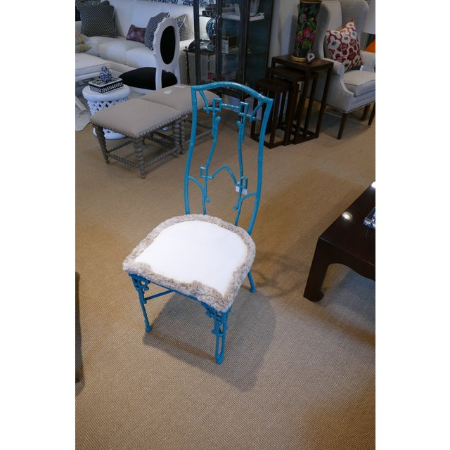 Modern Teal Wrought Iron Outdoor Chair For Sale - Image 13 of 13