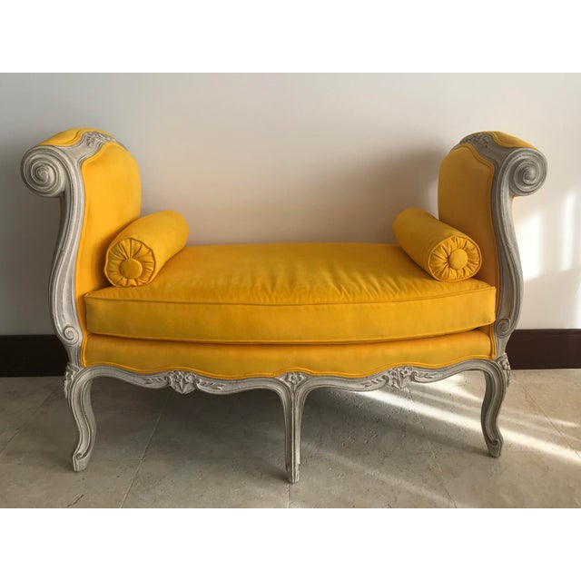 1900s Canary Yellow French Settee For Sale - Image 13 of 13