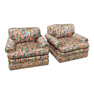 Missoni Fabric, Baker Style, Multi-Color Upholstered Club Chairs - Pair For Sale