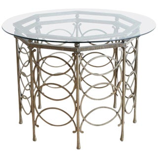 Round Neoclassical Style Silverleaf Metal Dining Table For Sale