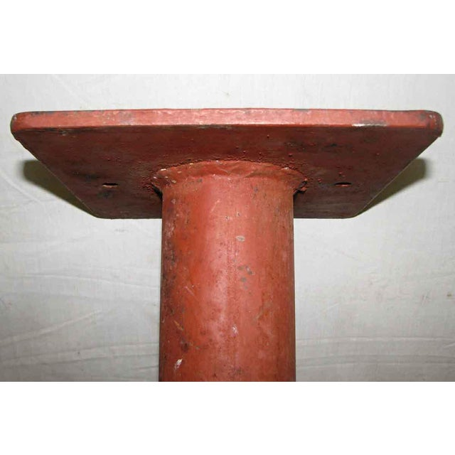 Industrial Industrial Red Metal Pedestal Base For Sale - Image 3 of 7