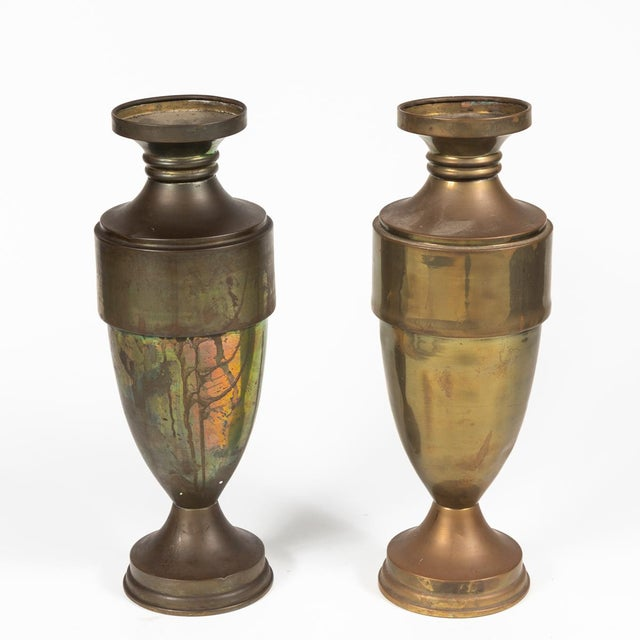 1940s Brass Urn or Vase With Dark Bronze-Like Patina on Weighted Base For Sale - Image 5 of 6