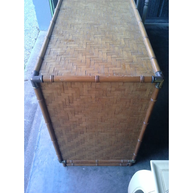 1960s Dixie Furniture Co. Boho Bamboo & Woven Wicker Dresser For Sale - Image 5 of 11