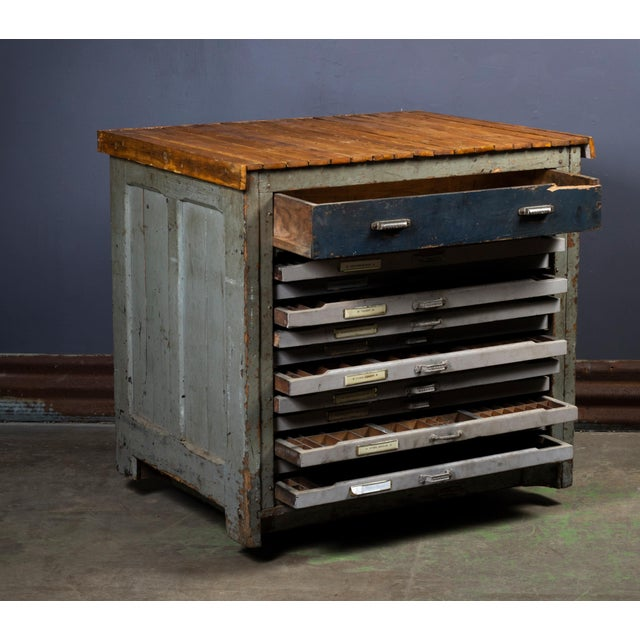 1920s Industrial Hamilton Flat File Printers Cabinet For Sale - Image 4 of 11