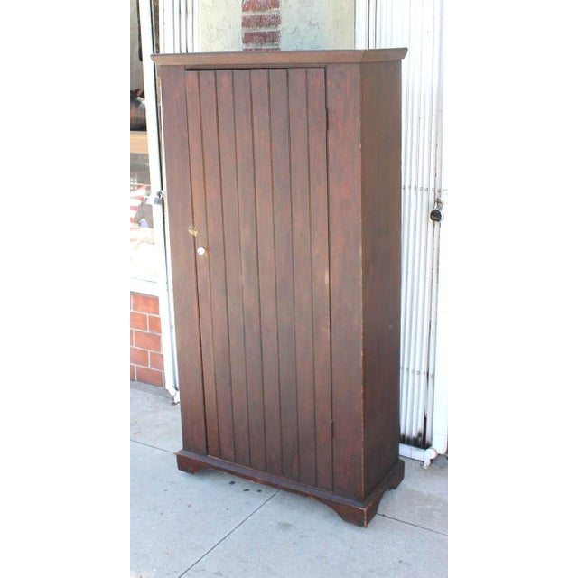 Early American Original Brown Painted 19th Century Pennsylvania Wall Cupboard For Sale - Image 3 of 9