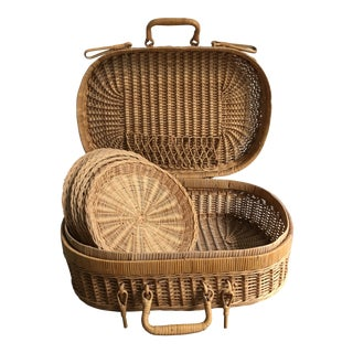 Vintage French Country Wicker Picnic Basket Set For Sale