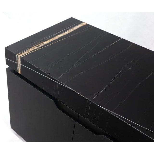 Black Marble Top Black Lacquer Contemporary Short Credenza Console For Sale - Image 12 of 13