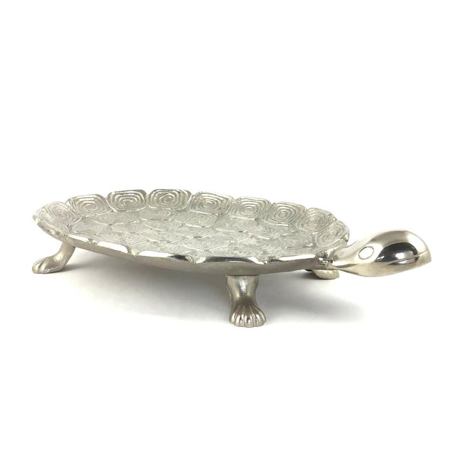 An irresistible silver turtle platter or serving tray. Made from heavy cast aluminum and in pristine condition. He or she...