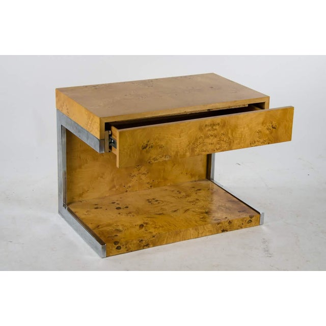 Vladimir Kagan 1990s Modern Burl Walnut Nightstand Side Table For Sale - Image 4 of 13
