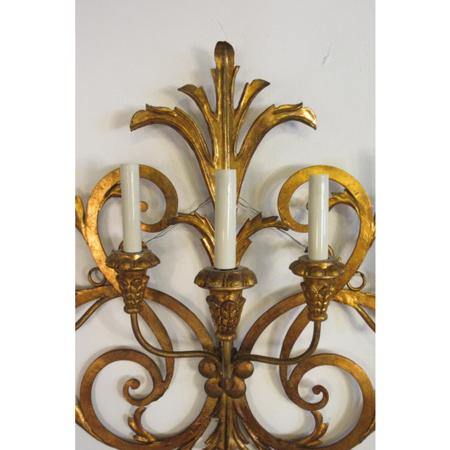 1950s Large Gilt Iron Italian Sconce For Sale In New York - Image 6 of 11