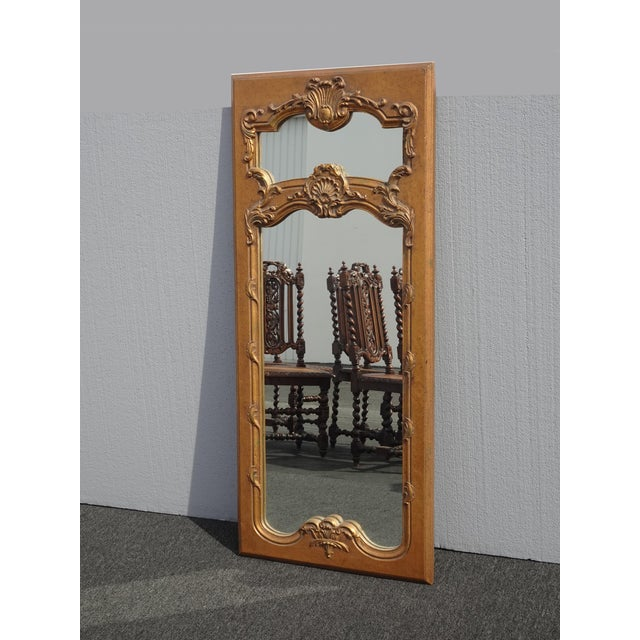 French Provincial 1950s Vintage French Provincial Gold Wall Mantle Mirror For Sale - Image 3 of 13