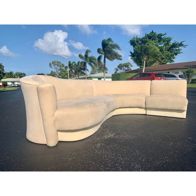 Mid-Century Modern Vladimir Kagan for Weiman 3pc Scroll Back Sectional Sofa For Sale - Image 3 of 13