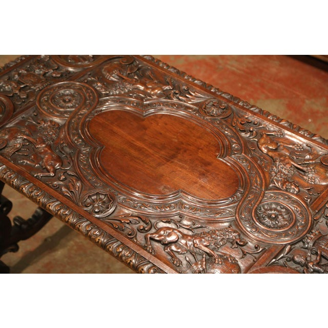 19th Century Spanish Carved Walnut and Wrought Iron Console Center Table For Sale - Image 10 of 13