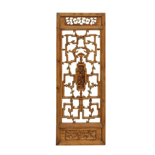 Chinese Vintage Light Brown Relief Motif Wood Wall Hanging Art For Sale