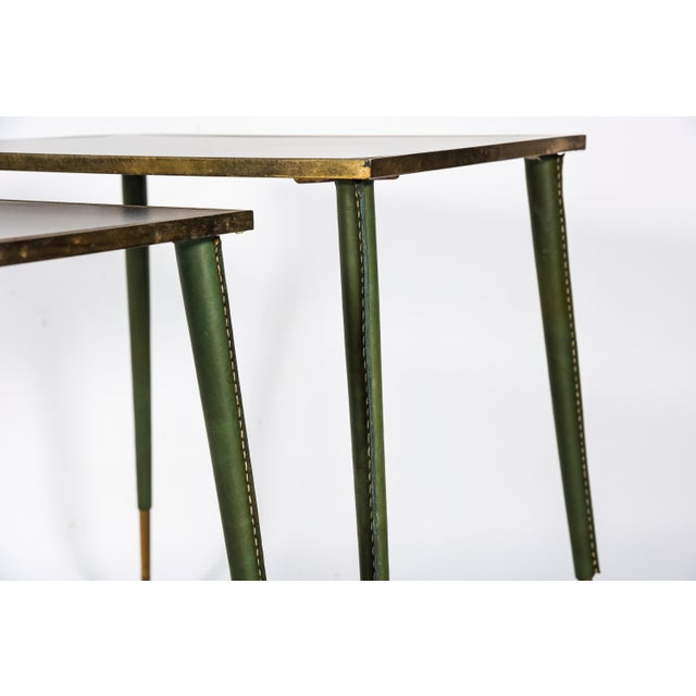Leather Rare Stitched Leather Nesting Tables by Jacques Adnet - Set of 3 For Sale - Image 7 of 9