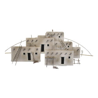 Curtis Jere Signed Postmodern Brutalist Adobe Pueblo Wall Sculpture For Sale