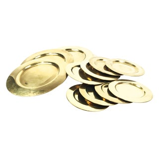 Vintage Mid-Century Solid Brass Plates - Set of 12 For Sale