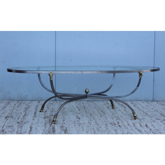 Steel and Brass Rams Head Oval Italian Coffee Table For Sale - Image 9 of 13