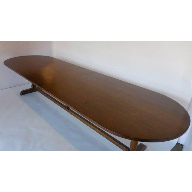 French Provincial Dos Gallos Custom Oval Wine Tasting Table in Walnut For Sale - Image 3 of 8