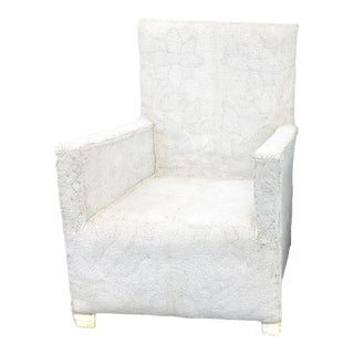 African Yoruba White Beaded Nobility Club Chair Nigeria For Sale