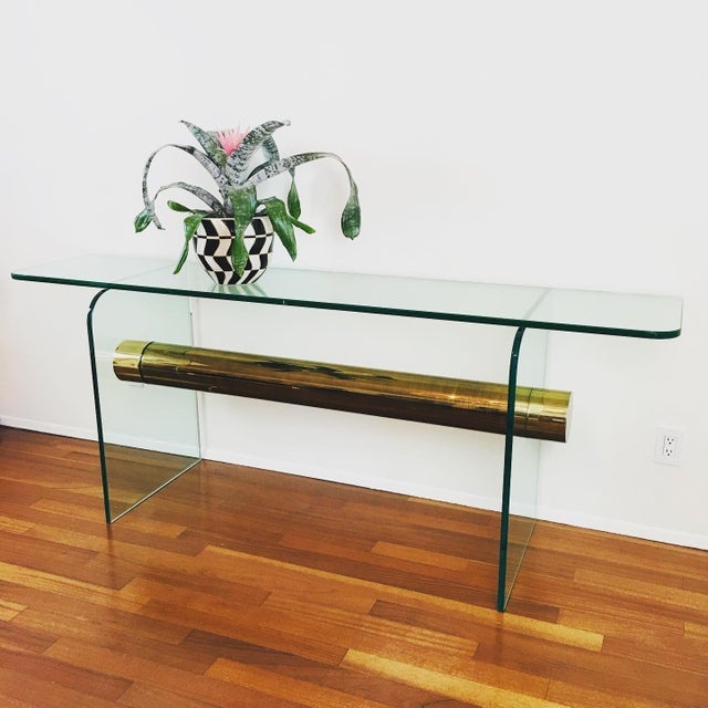 1970s 1970s Ultra Modern Glass & Brass Beam Console Sofa Table For Sale - Image 5 of 11