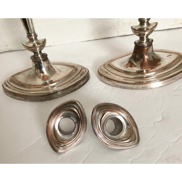 Mid 19th Century Neoclassical English Candlesticks Barker Ellis Silver Co - a Pair For Sale - Image 5 of 9