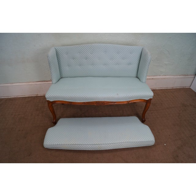 Blue Vintage French Louis XV Style Window Bench For Sale - Image 8 of 10