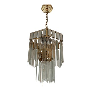 1980s Brass and Glass Entry Chandelier For Sale