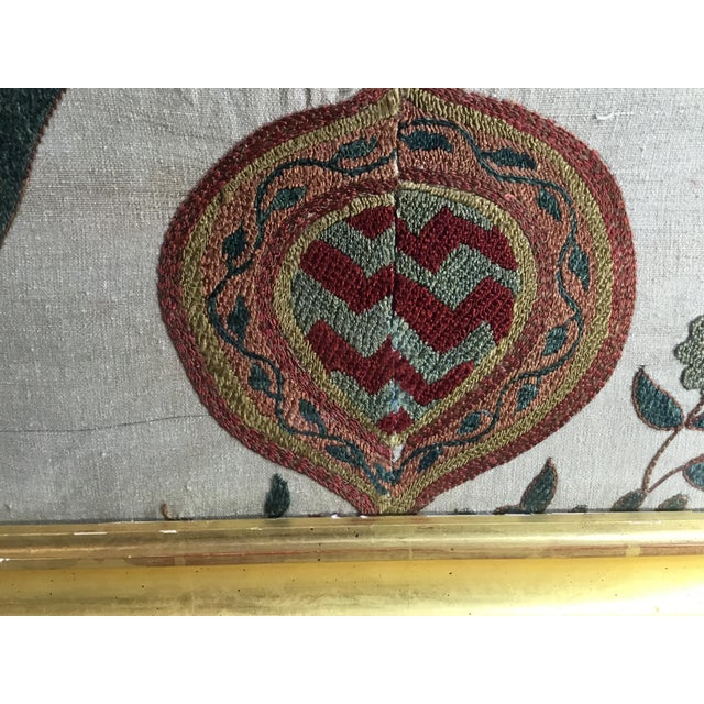Hand Embroidery Silk Suzani Textile, Framed For Sale - Image 10 of 13