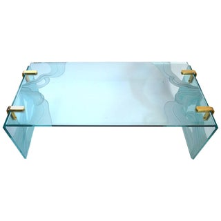 Thick Etched Plate Glass Coffee Table For Sale