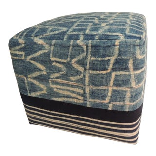 African Blue and Natural Vintage Ndop Artisanal Textile Upholstered Square Ottoman For Sale
