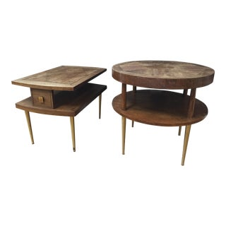 1950's Danish Modern Altavista Lane Walnut Side Tables with Brass Legs - Set of 2 For Sale