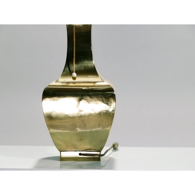 Metal Pair of French Brass Table Lamps, 1970s For Sale - Image 7 of 8