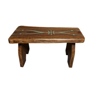 Black Walnut Live Edge Turquoise Inlay Slab Bench