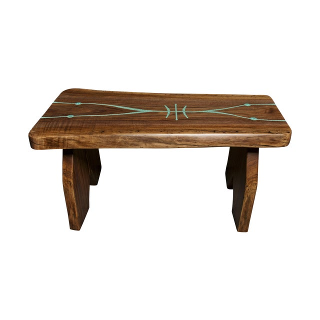 Black Walnut Live Edge Turquoise Inlay Slab Bench - Image 1 of 6