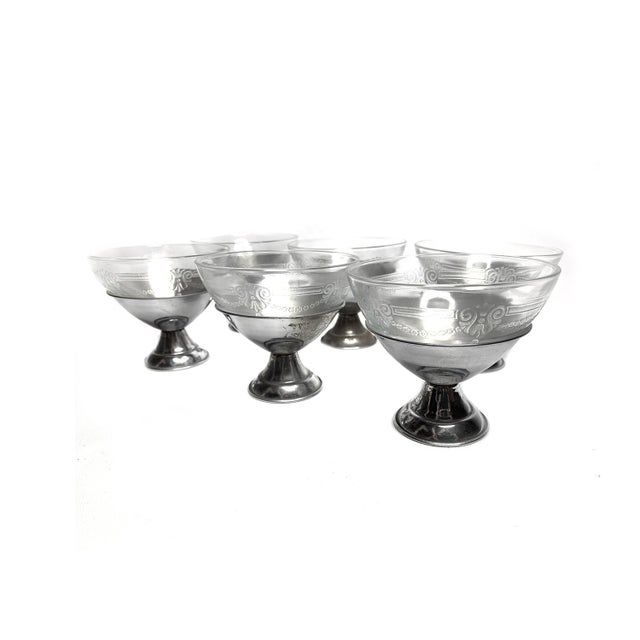 Vintage 1930's Dessert Bowl Serving Set by Mac Beth Evans in Removable Chrome Bases - Set of 6 For Sale - Image 4 of 4